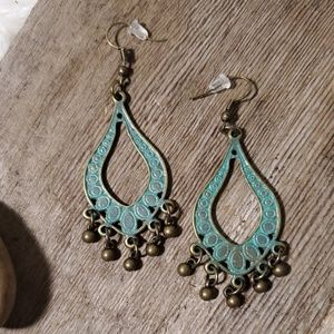 Bronze Patina Chandelier Earrings